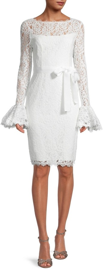 Thumbnail for your product : Shani Lace Bell-Sleeve Sheath Dress