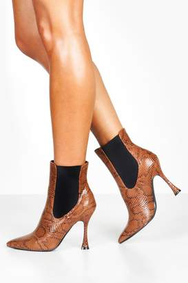boohoo Snake Interest Heel Pointed Toe Chelsea Boots