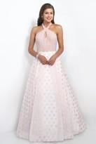 Blush Lingerie Embellished Halter Neck Polka Dot Printed Ball Gown 5516