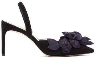 Sophia Webster Jumbo Lilico Floral Embellished Suede Heels - Womens - Black Navy
