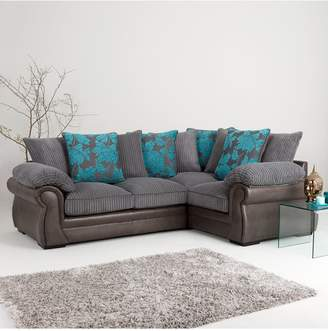 BotanicFaux Snakeskin/Fabric Right Hand Corner Group Scatter Back Sofa