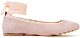 French Sole Margot Grosgrain-trimmed Suede Ballet Flats