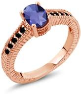 Gem Stone King 0.98 Ct Oval Checkerboard Blue Iolite Black Diamond 18K Rose Gold Plated Silver Ring
