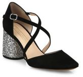 Marc Jacobs Haven Crisscross Suede & Glitter Block Heel Pumps