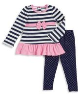 Nannette Little Girl's Two-Piece Striped Dress and Dotted Leggings Set
