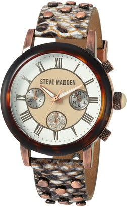 Steve Madden Women's Gold Japanese-Quartz Watch with Leather-Synthetic Strap Multi 18 (Model: SMW001AQ-LW)