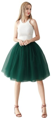 ShowYeu Women's A-line 60CM Petticoat Tulle Skirts Tutu Vintage Party Bridesmaids Princess Midi Lolita Dress Prom Ball Gown Dusty Pink 4 Layers