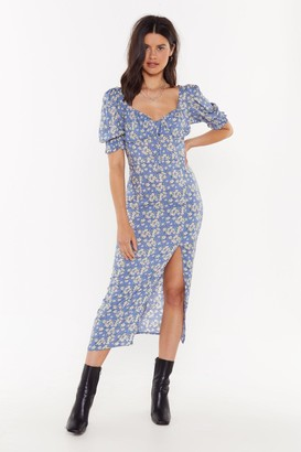 Nasty Gal Womens I Like It Puff Floral Midi Dress - Blue - 6