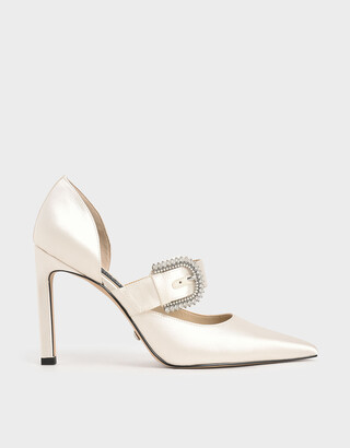 Charles & Keith Wedding Collection: Satin Embellished-Buckle Pumps