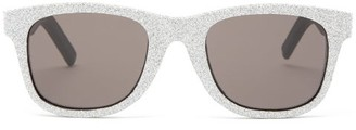 Saint Laurent Glittered Square Leather Sunglasses - Silver