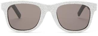 Saint Laurent Glittered Square Leather Sunglasses - Womens - Silver