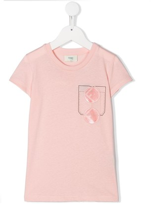 Fendi Kids FF sunglasses pocket print T-shirt