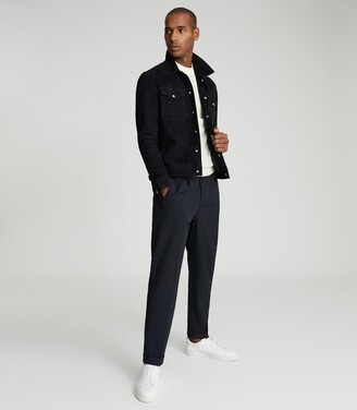 Reiss Jagger - Suede Trucker Jacket in Navy