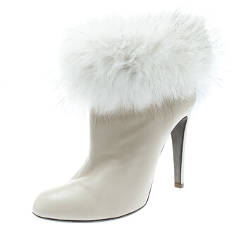 Sergio Rossi Cream Leather With Fur Trim Ankle Boots Size 40.5