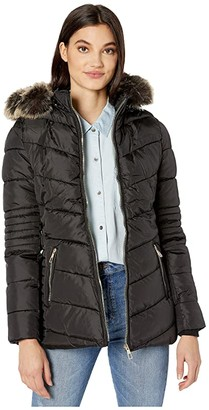 YMI Jeanswear Snobbish Polyfill Puffer Jacket with Faux Fur Trim Hood and Pop Zippers