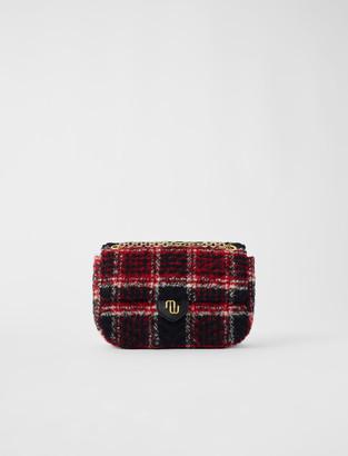 Maje Tweed and chain mini bag with flap