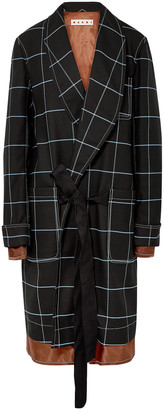 Marni Satin-trimmed Checked Twill Coat