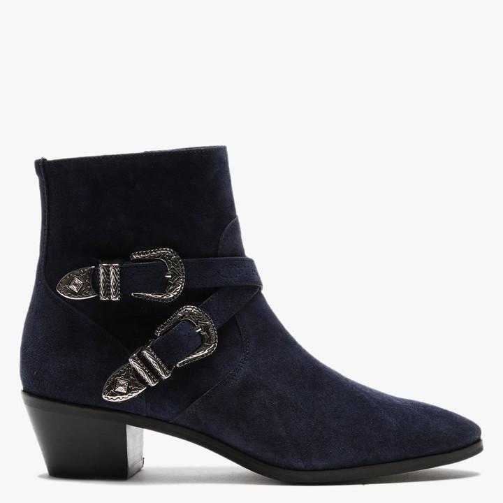 Daniel Elder Navy Suede Western Ankle Boots
