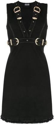 Versace Jeans Couture Buckled Denim Mini Dress