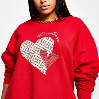 River Island Womens Plus Red 'Kindness' RI monogram sweatshirt