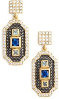 Freida Rothman Women's Modern Mosaic Petite 3-Stone Drop Earrings