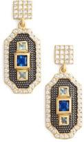Freida Rothman Women's Modern Mosaic Petite 3-Stone Drop Earrings