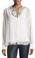 See by Chloe Long-Sleeve Floral Chiffon Blouse, Winter White