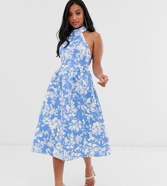 Asos DESIGN Petite blue halter floral midi skater dress
