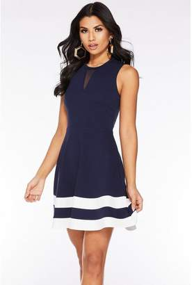 Quiz Navy And Cream Mesh Skater Dress