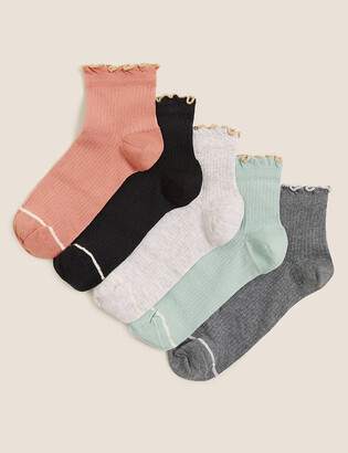 Marks and Spencer 5pk Cotton Ruffle Anklet Socks