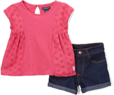 U.S. Polo Assn. Fuchsia Eyelet Tee & Denim Shorts - Infant Toddler & Girls