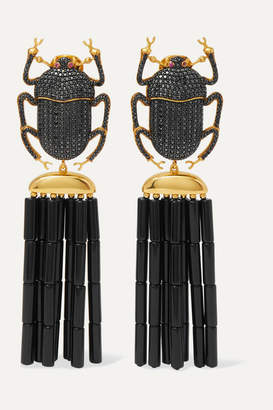 BEGÜM KHAN Pharoah Napoleon Gold-plated, Crystal And Enamel Clip Earrings - one size
