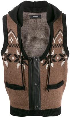 GR-Uniforma hooded geometric-knit gilet