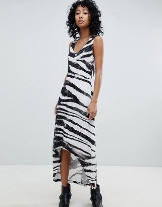 Religion Dip Hem Tank Dress In Zebra Print