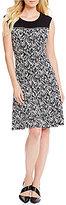Calvin Klein Zipper Trim Herringbone Print Knit Jersey Dress