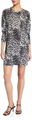 Melissa Masse Animal Print Long-Sleeve French Terry Shift Dress