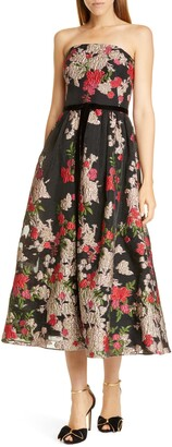 Marchesa Floral Embroidered Strapless Midi Dress