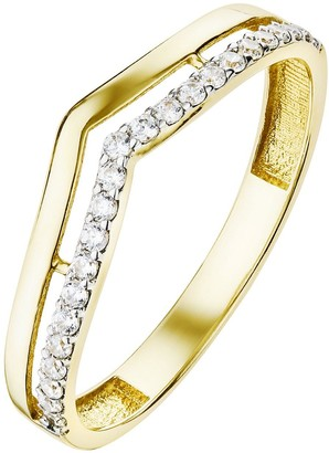9ct Yellow Gold Cubic Zirconia Double Row Wishbone Ring