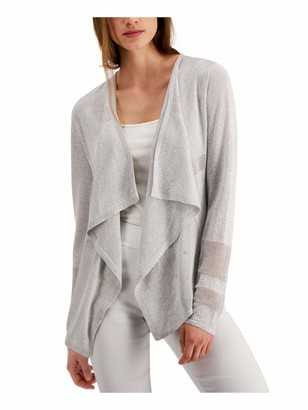 Alfani Womens Silver Striped Long Sleeve Open Cardigan Sweater UK Size:16