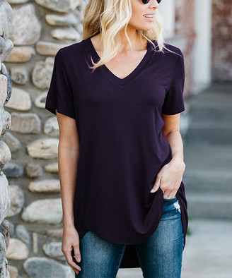 Amaryllis Women's Tee Shirts Purple - Purple Relaxed Hi-Low Tee - Women