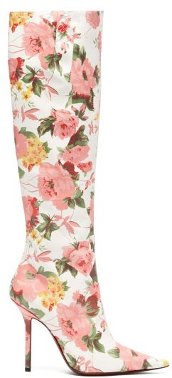 Vetements Floral Print Leather Knee High Boots - Womens - Pink White