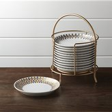 Crate & Barrel Metallic Plates with Stand Set of 12
