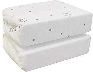 Cuddles Collection Cot Jersey Sheets (Pack of 2, Grey Stars on White)