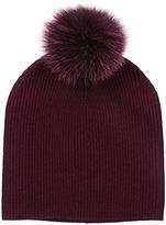 Sofia Cashmere Women's 100% Slouchy Beanie with Dyed Fox Fur Pom