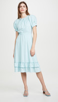 Alice + Olivia Vida Puff Sleeve Ruffle Midi Dress