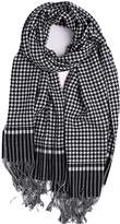 YUMILY Unisex 100% Pure Wool Scarf Houndstooth Tassel Wraps and Shawls
