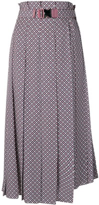 Fendi Belted Pleated Skirt