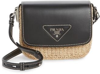 Prada Leather Flap Raffia Shoulder Bag