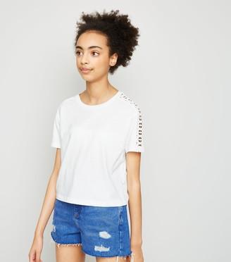 New Look Girls Crochet Sleeve T-Shirt