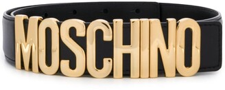 Moschino Logo Belt With Gold-Tone Hardware
